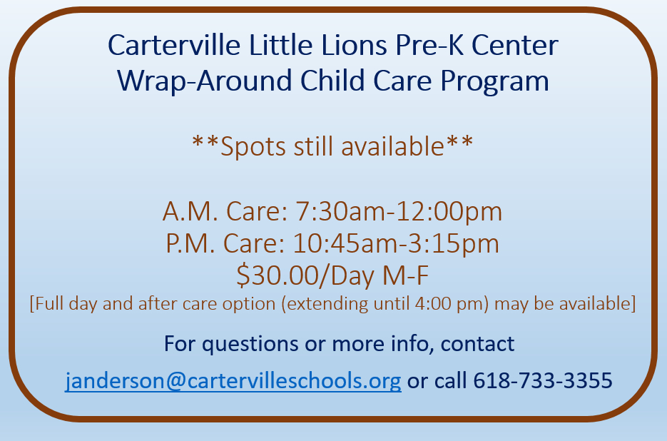 Carterville Little Lions Pre-K Center Wrap Around Care