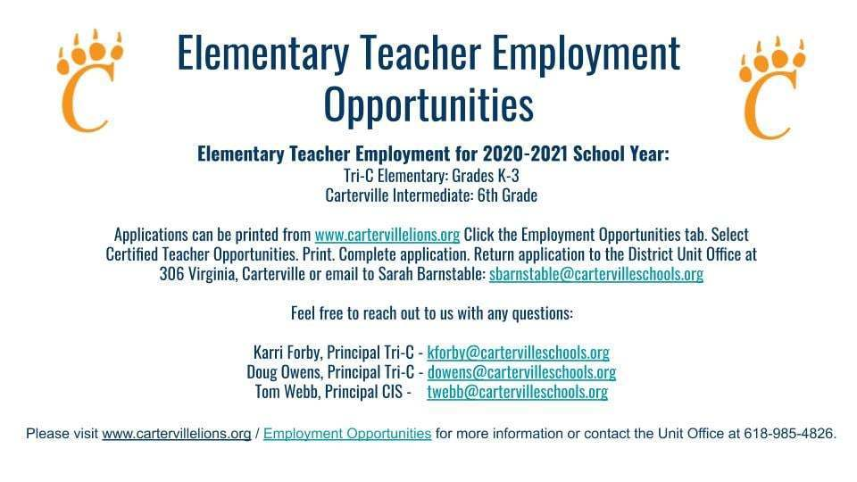 Elementary Teaching Employment Opportunities for the 2020-2021 School Year Available